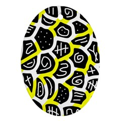 Yellow Playful Design Oval Ornament (two Sides) by Valentinaart
