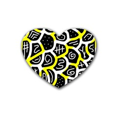 Yellow Playful Design Heart Coaster (4 Pack)  by Valentinaart