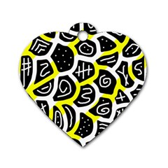 Yellow Playful Design Dog Tag Heart (two Sides) by Valentinaart