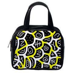 Yellow Playful Design Classic Handbags (one Side) by Valentinaart