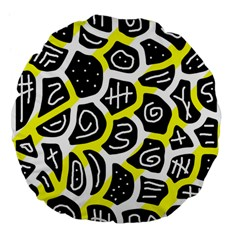 Yellow Playful Design Large 18  Premium Flano Round Cushions by Valentinaart