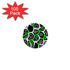 Green Playful Design 1  Mini Buttons (100 Pack)  by Valentinaart