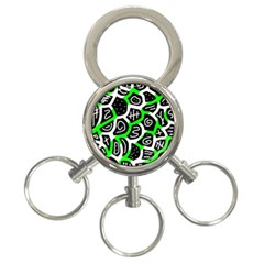Green Playful Design 3 Ring Key Chains by Valentinaart