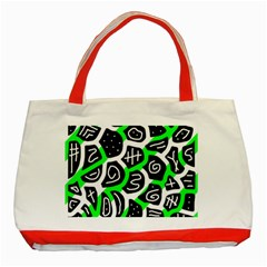 Green Playful Design Classic Tote Bag (red) by Valentinaart