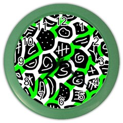 Green Playful Design Color Wall Clocks by Valentinaart
