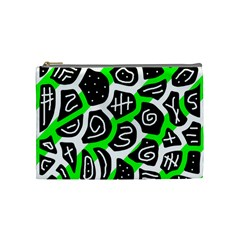 Green Playful Design Cosmetic Bag (medium)  by Valentinaart