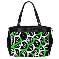 Green Playful Design Office Handbags (2 Sides)  by Valentinaart