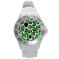 Green Playful Design Round Plastic Sport Watch (l) by Valentinaart