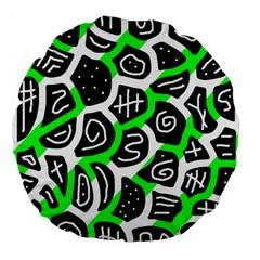 Green Playful Design Large 18  Premium Flano Round Cushions by Valentinaart