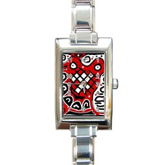 Red High Art Abstraction Rectangle Italian Charm Watch