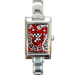 Red high art abstraction Rectangle Italian Charm Watch Front