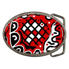 Red High Art Abstraction Belt Buckles by Valentinaart