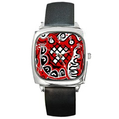 Red High Art Abstraction Square Metal Watch by Valentinaart
