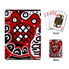 Red High Art Abstraction Playing Card by Valentinaart