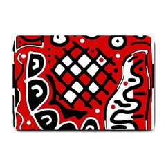 Red High Art Abstraction Small Doormat  by Valentinaart