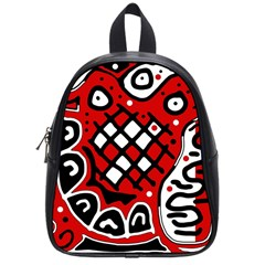 Red High Art Abstraction School Bags (small)  by Valentinaart