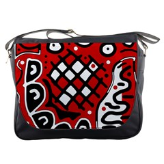 Red High Art Abstraction Messenger Bags by Valentinaart
