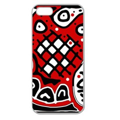 Red High Art Abstraction Apple Seamless Iphone 5 Case (clear) by Valentinaart
