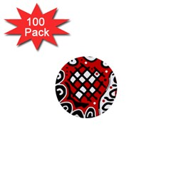 Red High Art Abstraction 1  Mini Buttons (100 Pack)  by Valentinaart