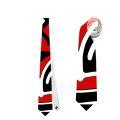 Red High Art Abstraction Neckties (two Side)  by Valentinaart