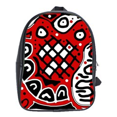 Red High Art Abstraction School Bags(large)  by Valentinaart