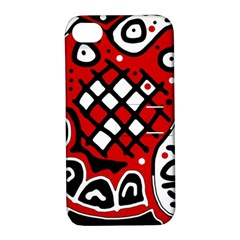 Red High Art Abstraction Apple Iphone 4/4s Hardshell Case With Stand by Valentinaart