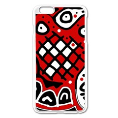 Red High Art Abstraction Apple Iphone 6 Plus/6s Plus Enamel White Case by Valentinaart
