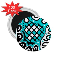 Cyan High Art Abstraction 2 25  Magnets (100 Pack)  by Valentinaart