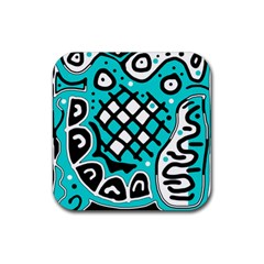 Cyan High Art Abstraction Rubber Coaster (square)