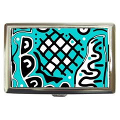 Cyan High Art Abstraction Cigarette Money Cases by Valentinaart