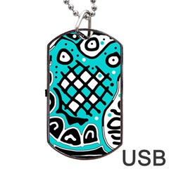 Cyan High Art Abstraction Dog Tag Usb Flash (two Sides)  by Valentinaart