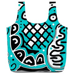 Cyan High Art Abstraction Full Print Recycle Bags (l)  by Valentinaart