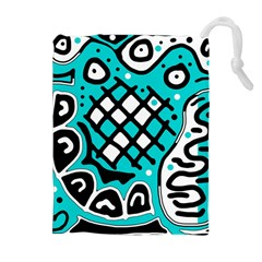 Cyan High Art Abstraction Drawstring Pouches (extra Large) by Valentinaart