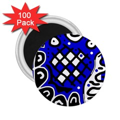 Blue High Art Abstraction 2 25  Magnets (100 Pack)  by Valentinaart
