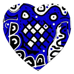 Blue High Art Abstraction Jigsaw Puzzle (heart) by Valentinaart