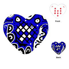 Blue High Art Abstraction Playing Cards (heart)  by Valentinaart