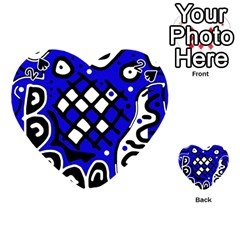 Blue High Art Abstraction Playing Cards 54 (heart)  by Valentinaart