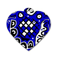 Blue High Art Abstraction Dog Tag Heart (two Sides) by Valentinaart