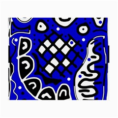 Blue High Art Abstraction Small Glasses Cloth (2 Side) by Valentinaart