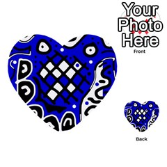 Blue High Art Abstraction Multi Purpose Cards (heart)  by Valentinaart