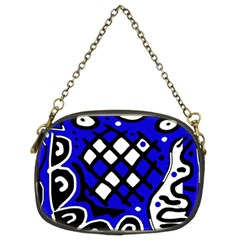 Blue High Art Abstraction Chain Purses (two Sides)  by Valentinaart