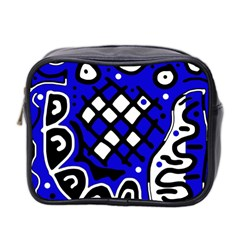 Blue High Art Abstraction Mini Toiletries Bag 2 Side by Valentinaart