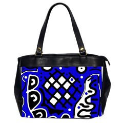 Blue High Art Abstraction Office Handbags (2 Sides)  by Valentinaart