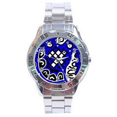 Blue High Art Abstraction Stainless Steel Analogue Watch by Valentinaart