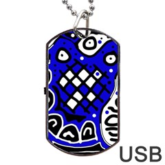 Blue High Art Abstraction Dog Tag Usb Flash (two Sides)  by Valentinaart