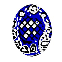 Blue High Art Abstraction Ornament (oval Filigree)  by Valentinaart