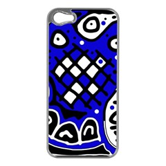 Blue High Art Abstraction Apple Iphone 5 Case (silver) by Valentinaart