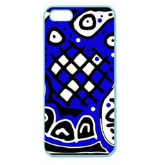Blue High Art Abstraction Apple Seamless Iphone 5 Case (color) by Valentinaart