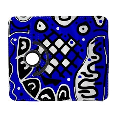 Blue High Art Abstraction Samsung Galaxy S  Iii Flip 360 Case by Valentinaart
