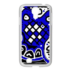 Blue High Art Abstraction Samsung Galaxy S4 I9500/ I9505 Case (white) by Valentinaart